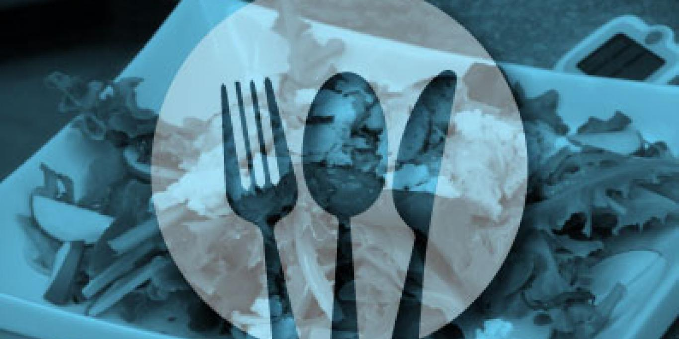 Picture of salad with blue overlay and graphic of knife, fork, and spoon