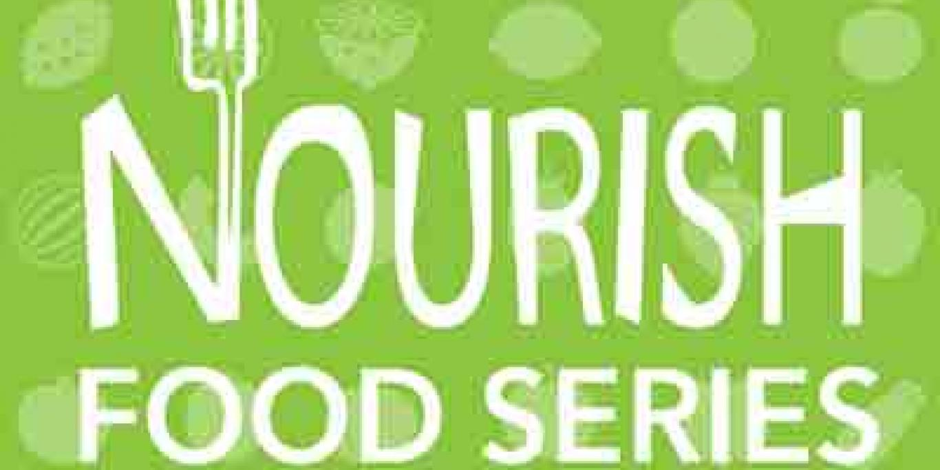 Nourish Food Series Logo on light green background with illustration of assorted fruits and vegetables