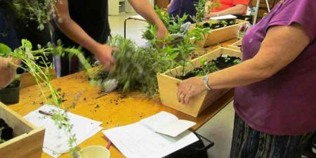 Building window box herb planters a Nourish Grow workshop