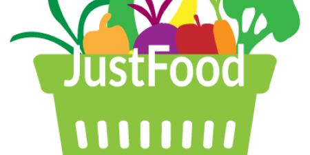 JustFood logo with basket of fresh vegetables and fruits