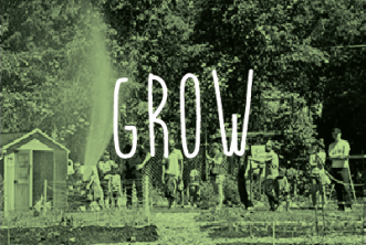 Image of community gardeners with green overal. Text reads: GROW