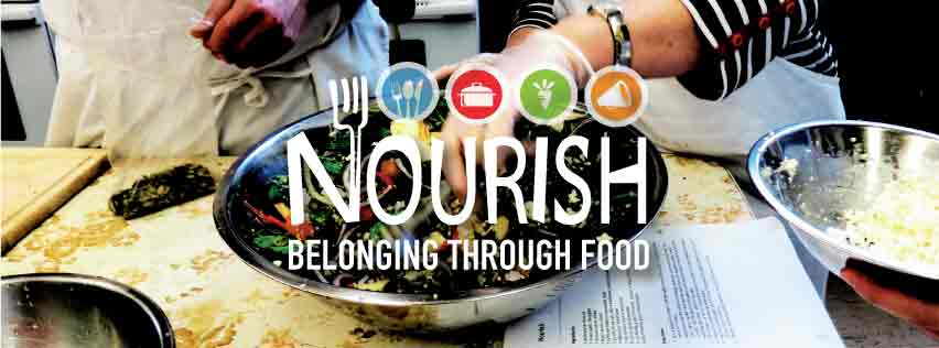 """Nourish Logo with text that reads: """"Belonging through Food"""""""